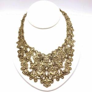 Bib Necklace Textured and Polished Gold Vintage